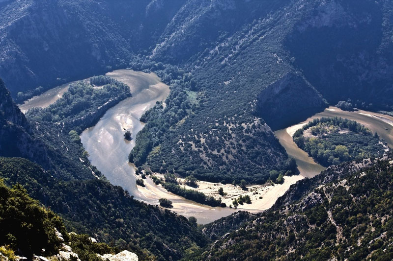 The Nestos river in Rodopi mountains of Xanthi