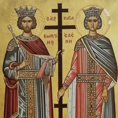 Άγιοι Κωνσταντίνος και Ελένη. Saint Constantine and Saint Helen Wooden Orthodox Christian Iconography