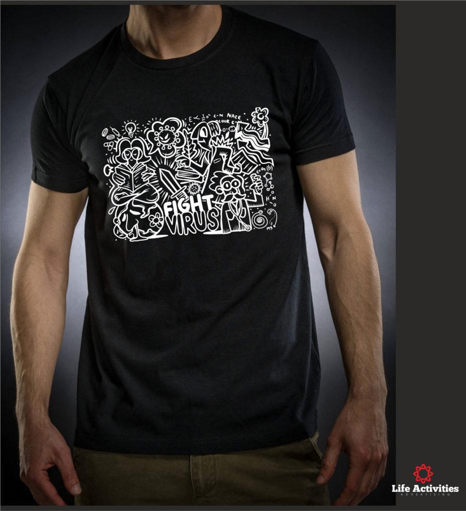 Coronavirus, Man Black Tshirt, Stop Virus Graffiti