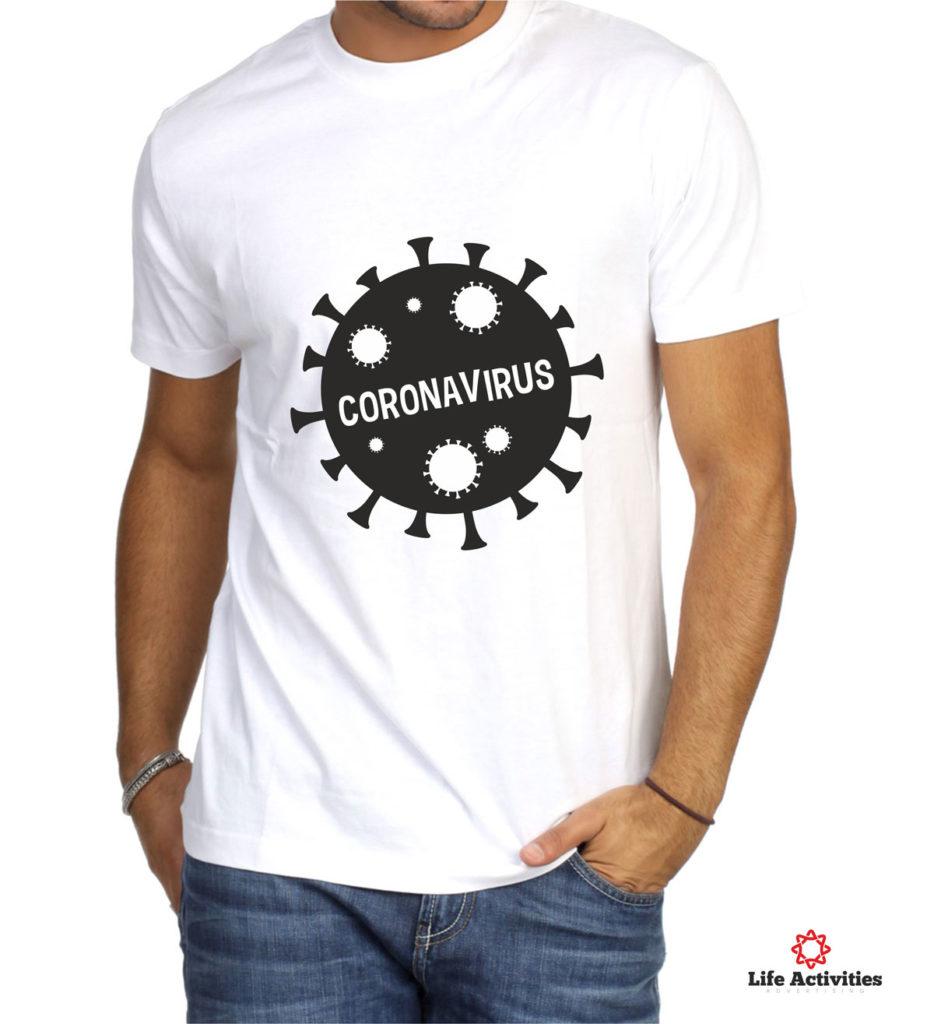 Coronavirus, Man White Tshirt, Coronavirus Black and White