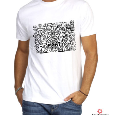 Corona Virus Tshirt, Man White Tshirt, Stop Virus Graffiti