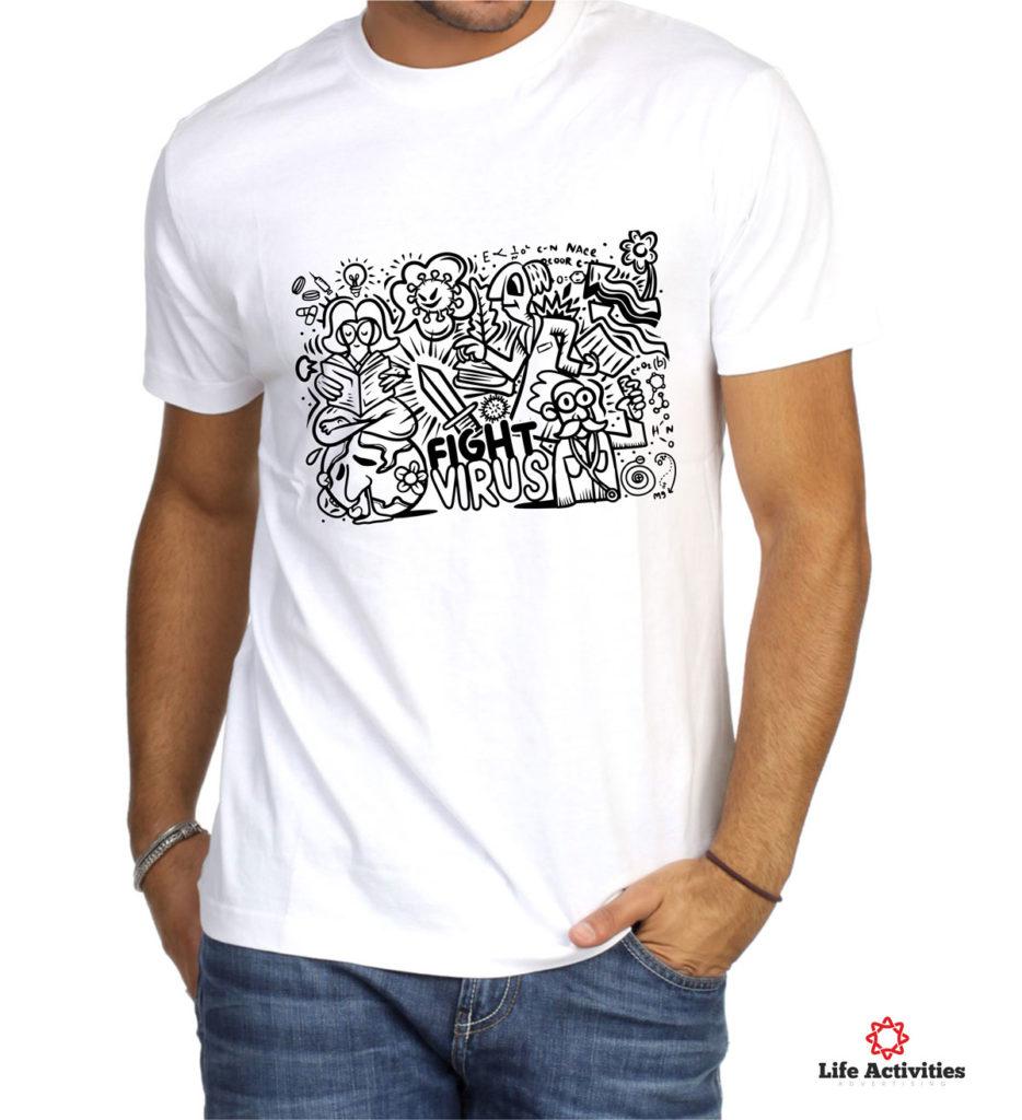 Corona Virus Tshirt, Man White Tshirt, Stop Virus Graffiti
