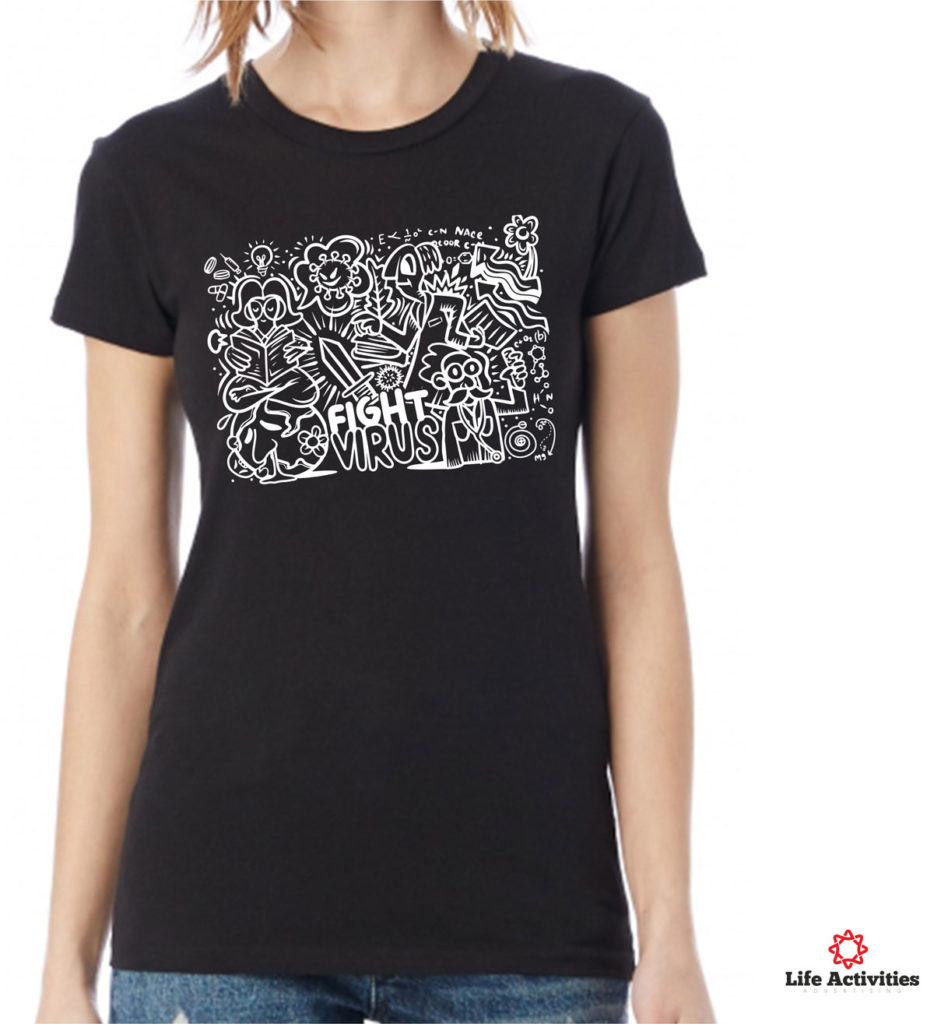 Coronavirus, Woman Black Tshirt, Stop Virus Graffiti