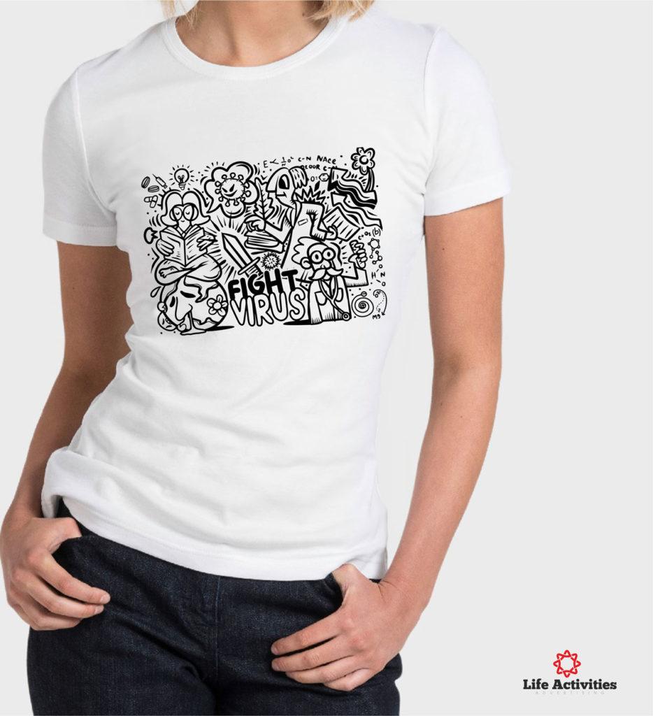 Coronavirus, Woman White Tshirt, Stop Virus Graffiti