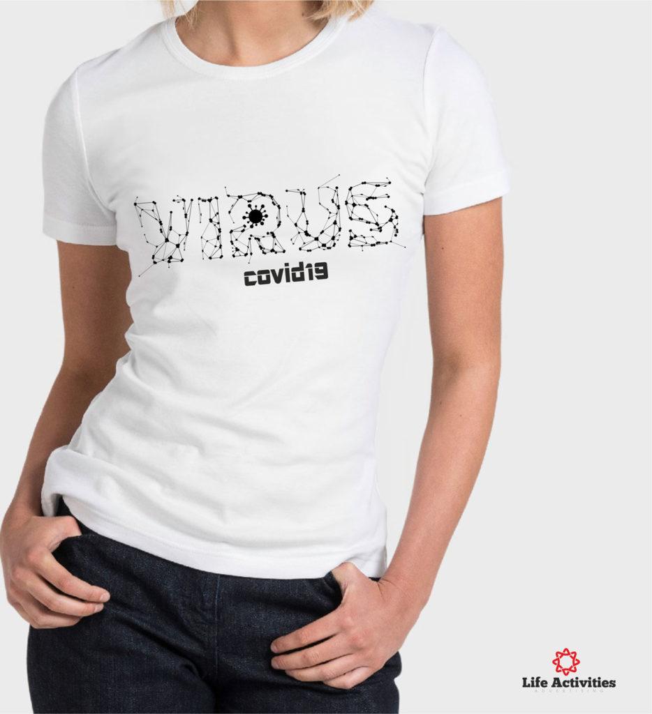 Coronavirus, Woman White Tshirt, Virus With Dots and Lines