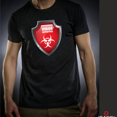 Coronavirus, Man Black Tshirt, Virus Detected Red Shield