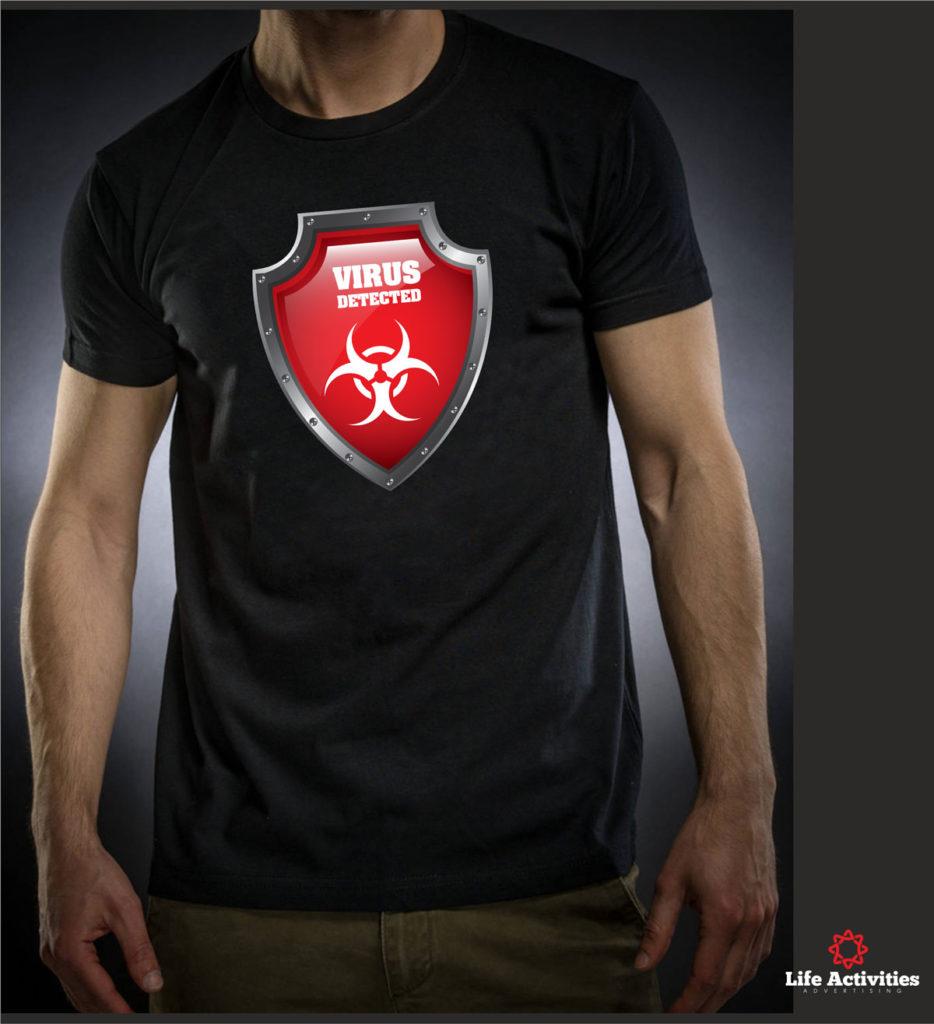 Coronavirus, Man Black Tshirt, Virus Detected Red Shield