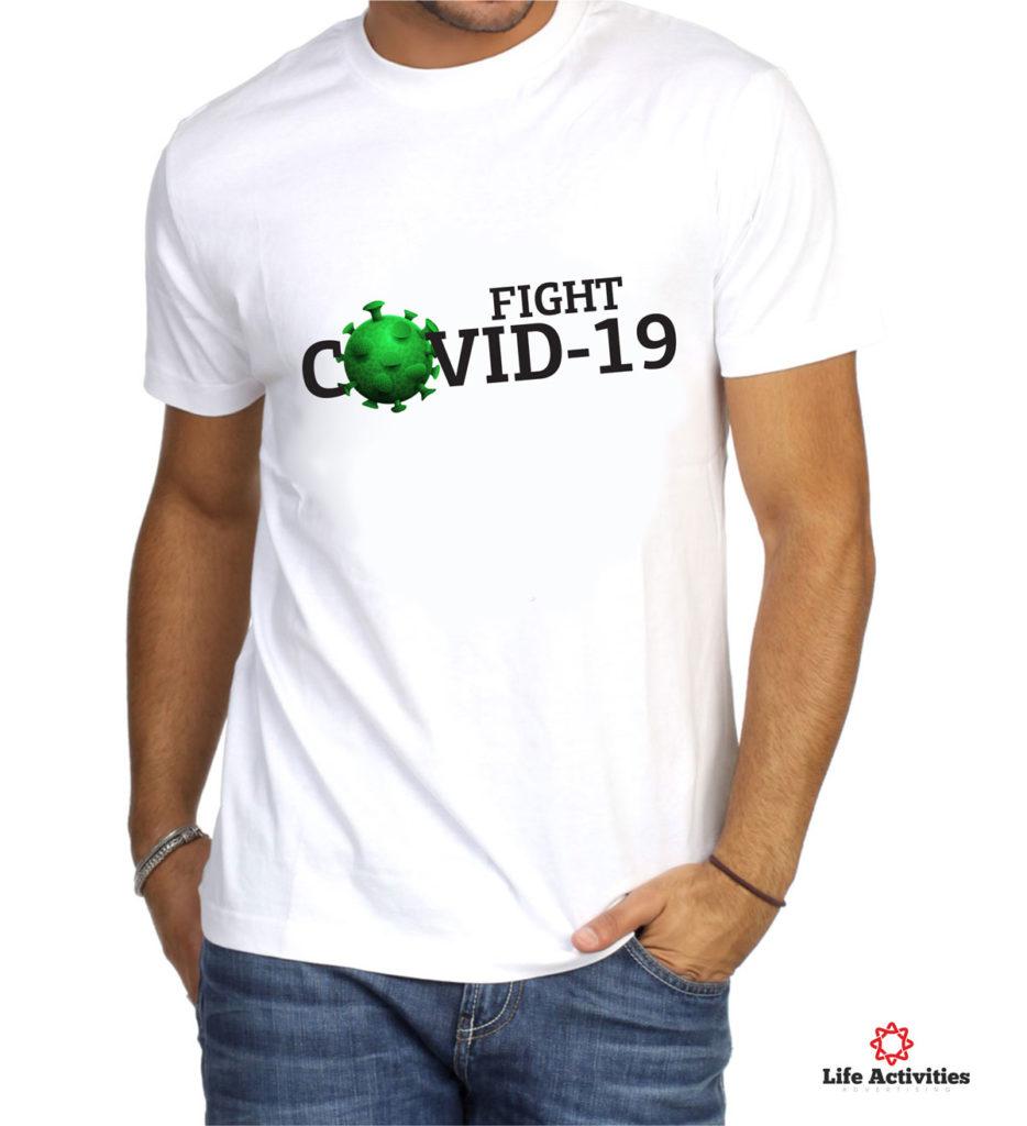Corona Virus Tshirt, Man White Tshirt, Fight Covid-19