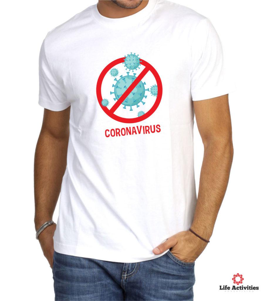 Coronavirus, Man White Tshirt, Coronavirus Red Stop