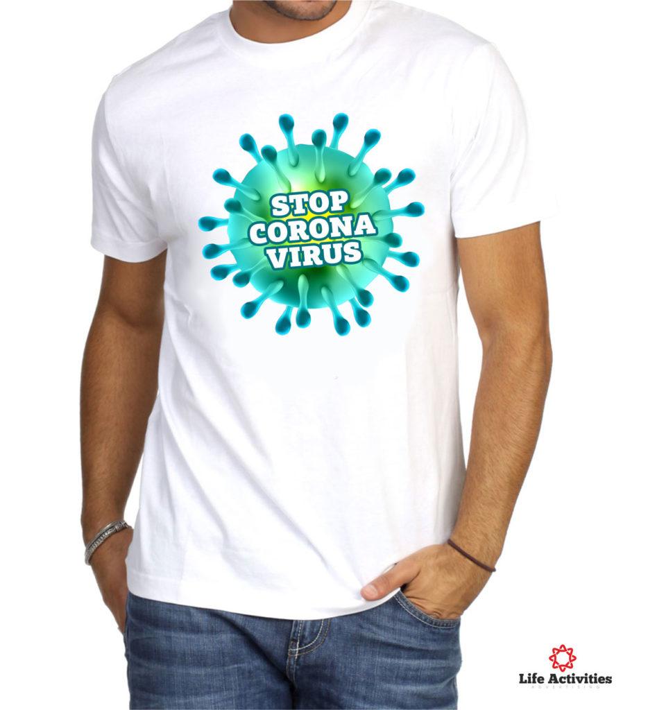 Coronavirus, Man White Tshirt, Stop Corona Virus