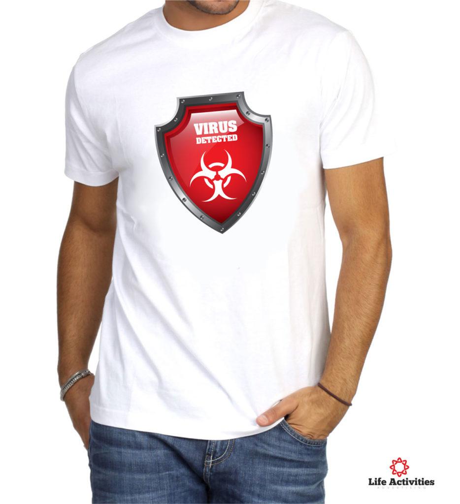 Coronavirus, Man White Tshirt, Virus Detected Red Shield