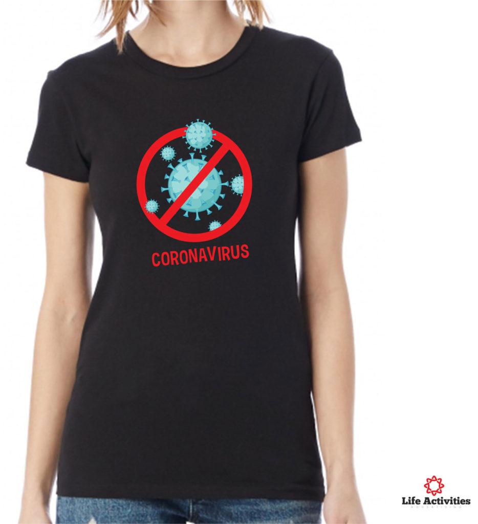 Corona Virus Tshirt, Woman Black Tshirt, Coronavirus Red Stop