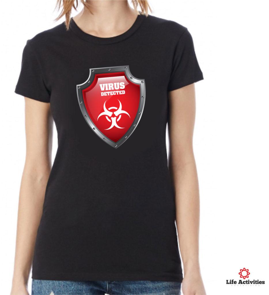 Coronavirus, Woman Black Tshirt, Virus Detected Red Shield