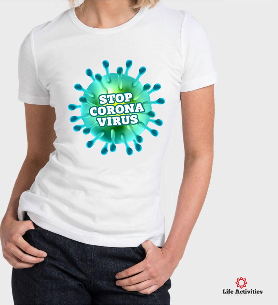 Corona Virus Tshirt, Woman White Tshirt, Stop Corona Virus