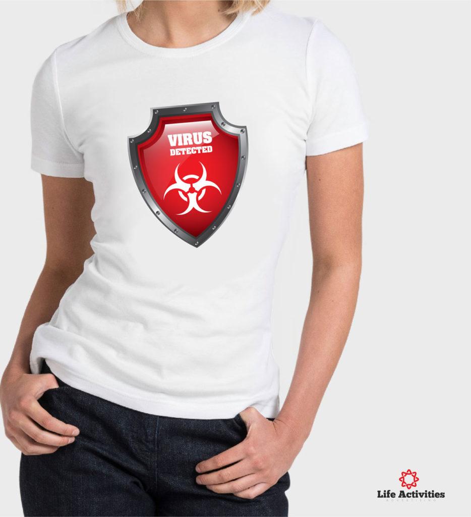 Coronavirus, Woman White Tshirt, Virus Detected Red Shield
