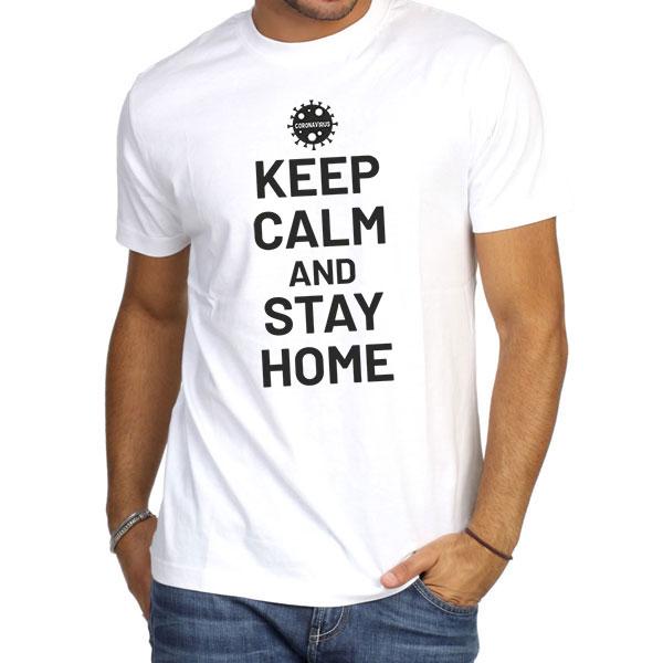 Corona Virus T-Shirt, Man White Tshirt, Keep Calm And Stay Home