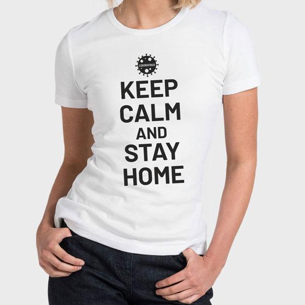 Corona Virus T-Shirt, Woman White Tshirt, Keep Calm And Stay Home