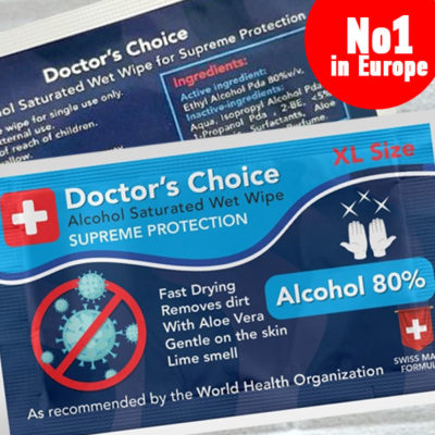Doctor's Choice 80% Alcohol Wet Wipe - Antivirus & Antibacterial