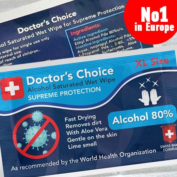 Doctor's Choice 80% Alcohol Wet Wipe - Antivirus & Antibacterial
