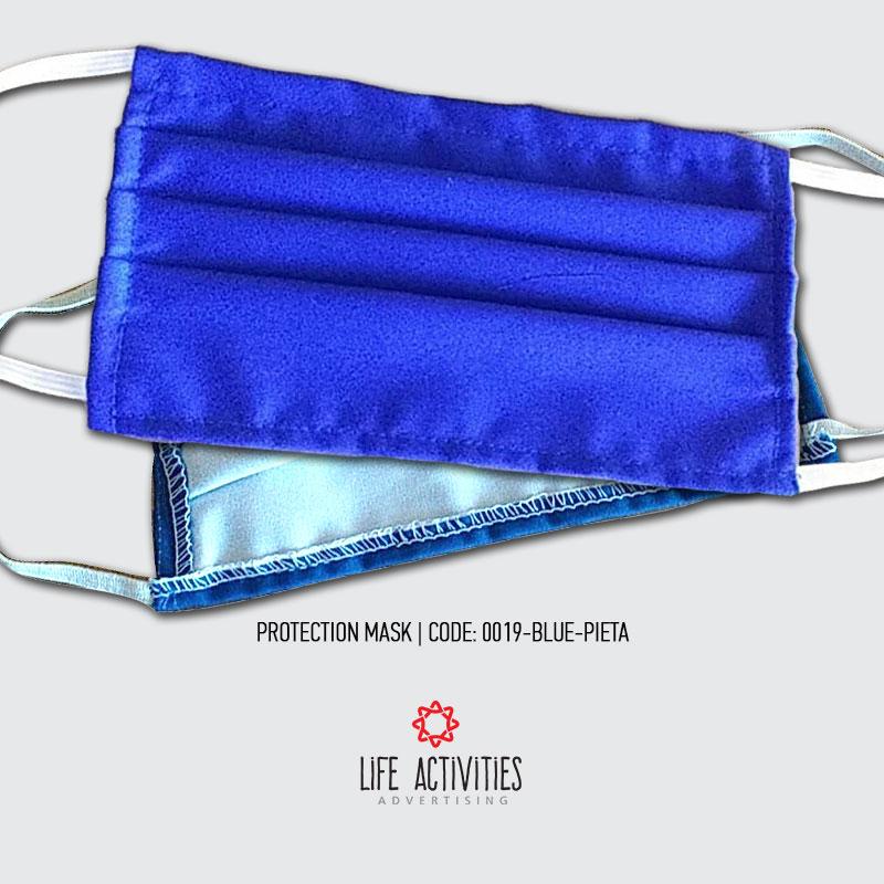 Μάσκα Προστασίας Υφασμάτινη Μπλε Πιέτα - 0019-Blue Pieta