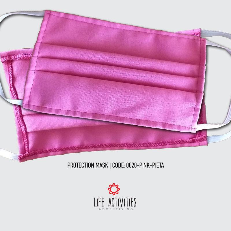 Μάσκα Προστασίας Υφασμάτινη Ροζ Πιέτα - 0020-Pink Pleat