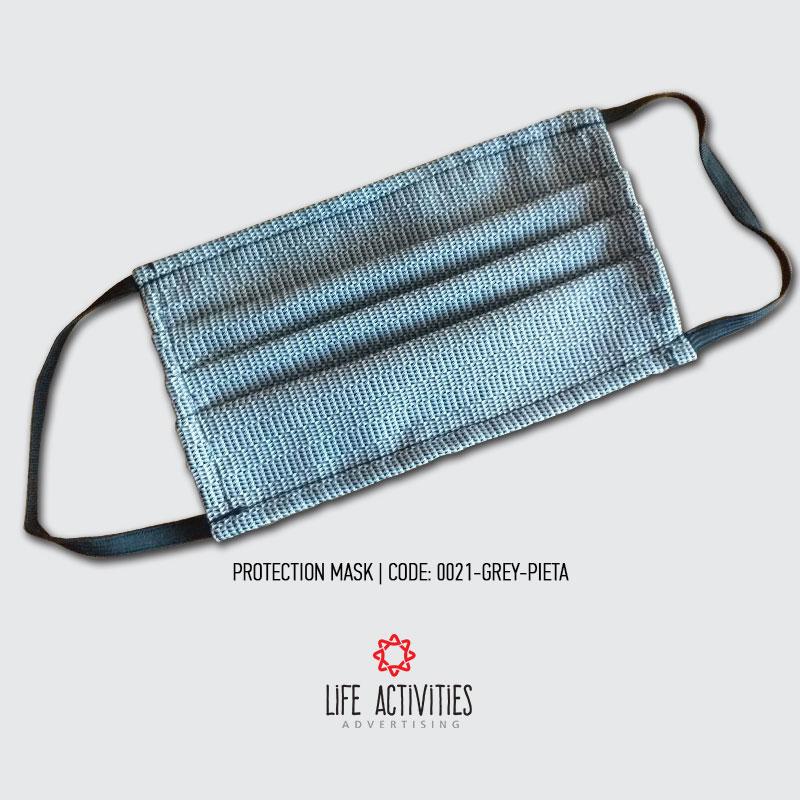 Μάσκα Προστασίας Υφασμάτινη Γκρι Πιέτα - 0021-Grey Pleat