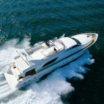 Luxury Motor Yacht Ferretti 80 feet for charter in Greece